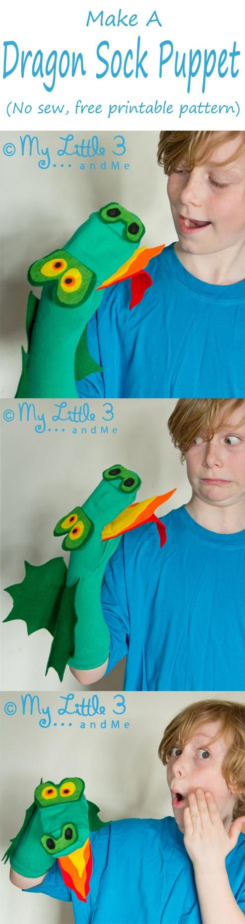 Make an adorable no sew Dragon Sock Puppet. (Free printable pattern.) // títere dragón con calcetín