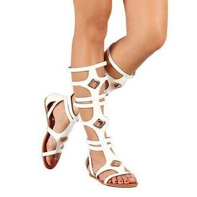 106.40$  Buy now - http://ali4dr.shopchina.info/go.php?t=32782474942 - Women fashion sandals narrow band cutouts knee-high flat heels open toe women casual shoes metal decoration white shoes 106.40$ #buychinaproducts