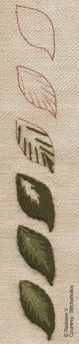 A Crewel Beginning:In response to my obvious apprehension RaeleneV, posted the following step by step guide to producing long and short stitch leaves for Design No. 1. You can only reach the same conclusions that I did: the stitch really should be called Long and Longer Stitch. those instructional line drawings we often see do give you a sense of the technique but worked thread shows far more