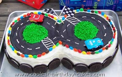 Cars racetrack birthday cake