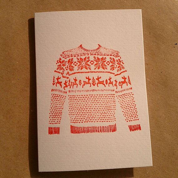 3 pack Letterpress Christmas Cards /// Red Xmas Jumper by MapleTea, £9.00