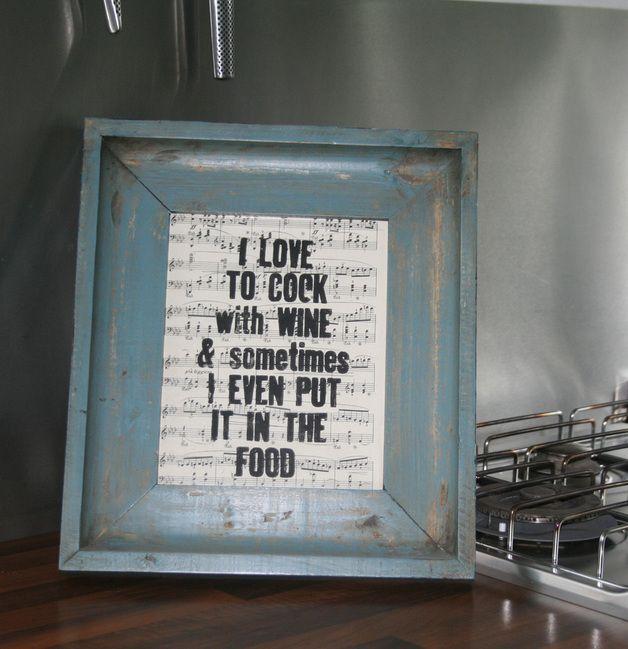 """Print """"I love to cook with wine..."""" // print by Papelami via DaWanda.com"""