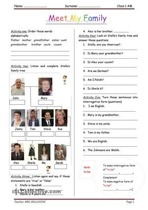 Introduce family membersListen to a passage and complete Stella's family tree. through planned task of listening comprhension, learners will be able to talk about family members and practise the verb to be with its three forms and draw their own family tree at the end. - ESL worksheets