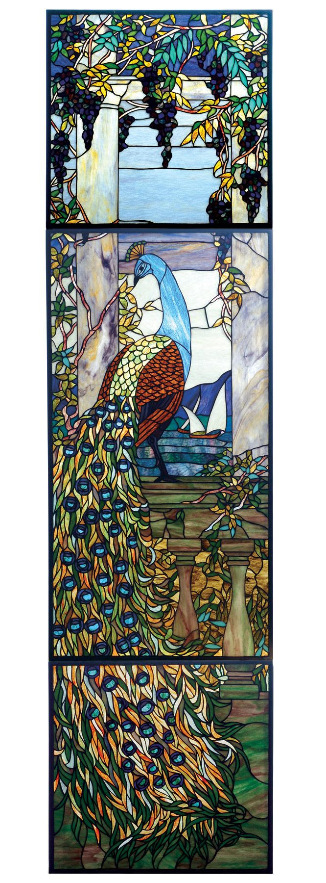 Franklin art glass studios inc clear cotswold glass 3 320 - Tiffany Stained Glass Meyda 77549 Tiffany Peacock Stained Glass Window