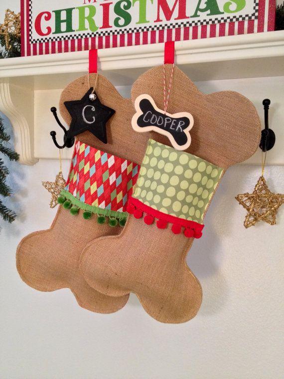 Pet Christmas Stocking Burlap Dog Bone by soopertramp on Etsy, $35.00