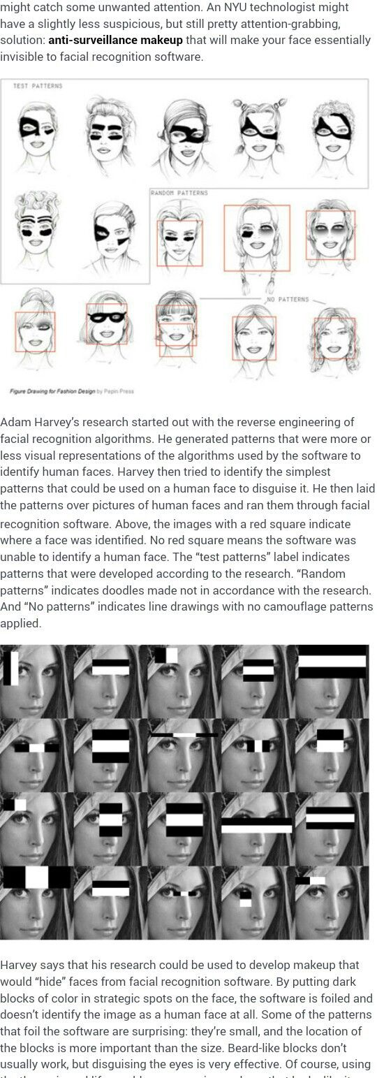 Fooling facial recognition software with makeup.