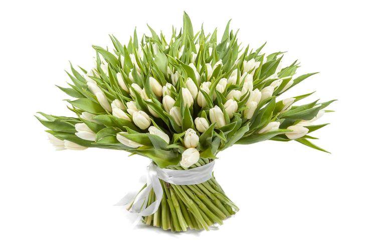 прекрасный Букет 151 тюльпан, белые  #Букеты #Оригинальныебукеты,Букет151тюльпан,белые