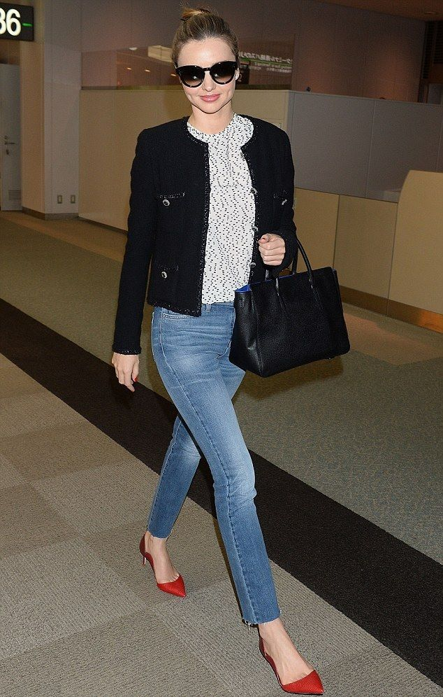 The little black jacket - Miranda Kerr #chanel | maybe red flats instead of heels?