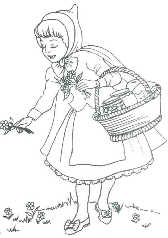 Little Red Riding Hood Picking Flowers Coloring Page Eventyr