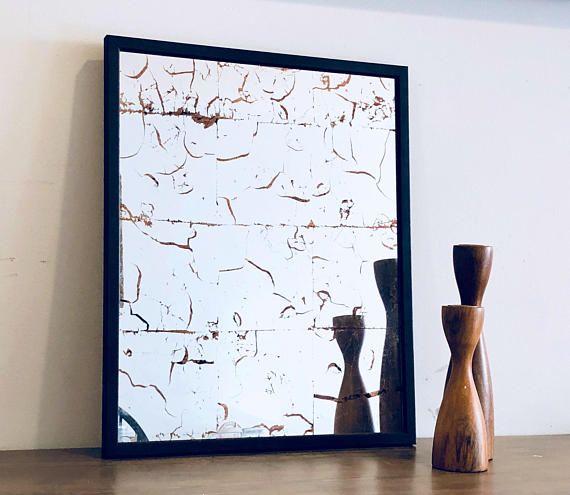 Modern Wall Mirror, Mirror, Distressed Mirror, Verre Eglomise, Gilded Mirror, Wall Mirror, Antiqued Mirror Glass, Copper Leaf, 16x20