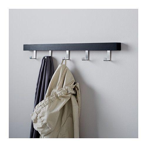 TJUSIG Wall/door rack with knobs - black - IKEA