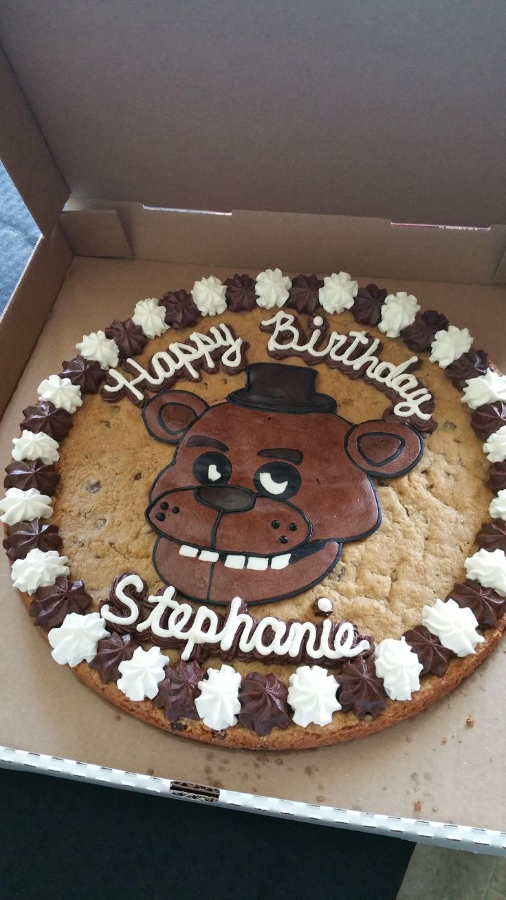Lady in my neighborhood makes cookie cakes. Asked her to do a Five Nights At Freddys one for my daughter's birthday. It turned out great! - Imgur