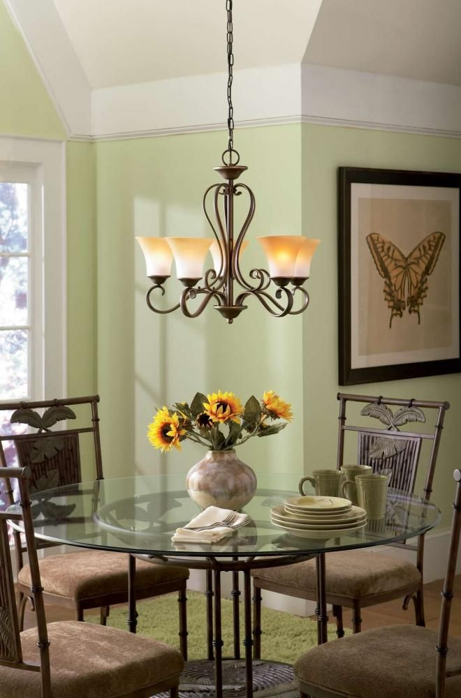 Chandelier For Over Dining Or Kitchen Table Adds Refinement To A Casual Space