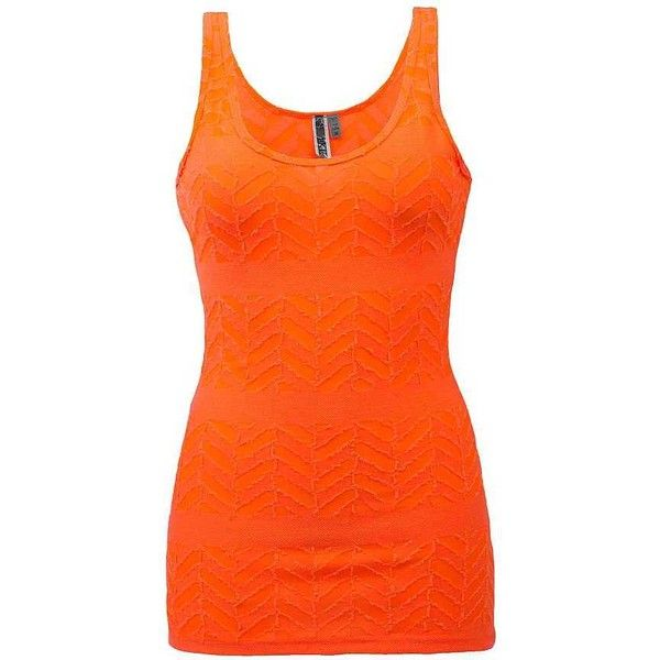 BKE Raw Edge Tank Top - Orange Small ($9.64) ❤ liked on Polyvore featuring tops, orange, bke tops, orange top, orange tank, sheer tank and see through tops