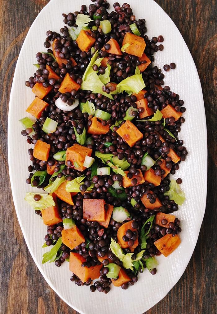 Roasted Sweet Potato & Black Lentil Salad. Festive black & orange Halloween dish!