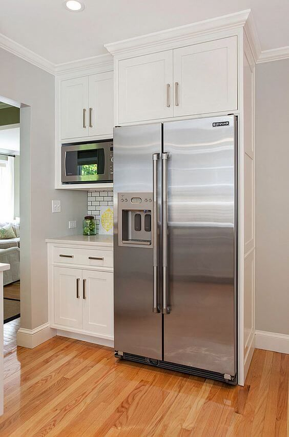 32 Kitchen Cabinets Around Refrigerator For More Storage