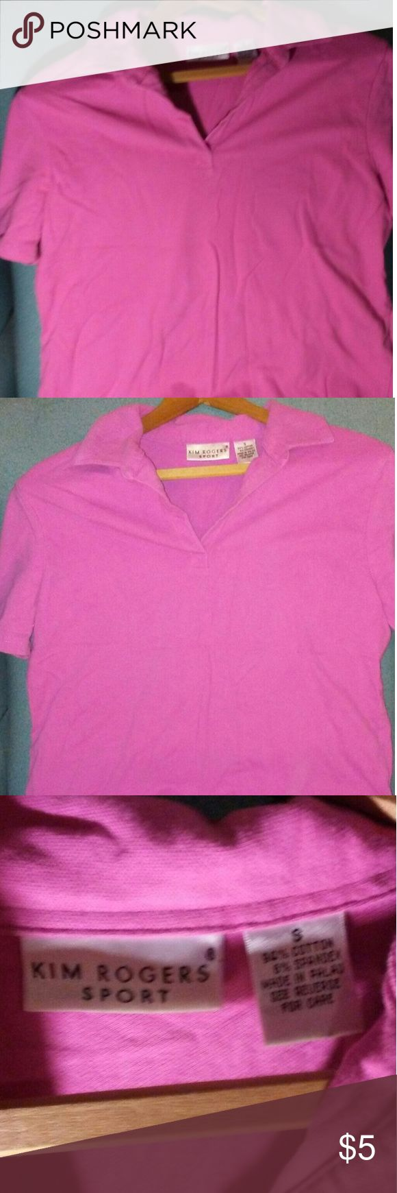 Kim Rogers Sport polo Kim Rogers Sport pink short sleeve polo shirt size small gently loved Kim Rogers Tops Tees - Short Sleeve