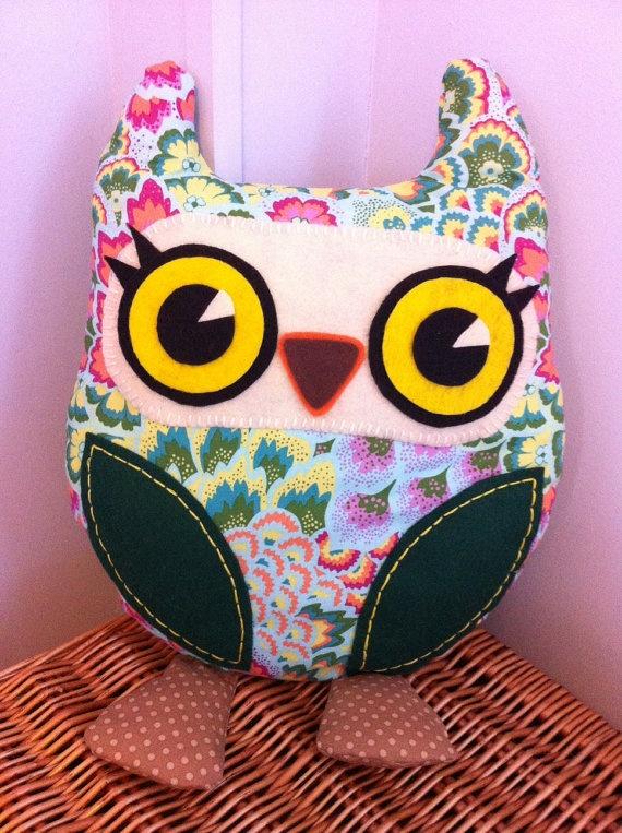 Decorative 'Funky' Owl Cushion by PrincessAllipops on Etsy, £19.95