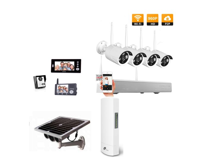 Video doorbell kit with 2 x screens, 4 x 960P camera kit, 1 x solar Panel powered  security camera & wireless bridge kit, making it easier & more affordable to secure your place.