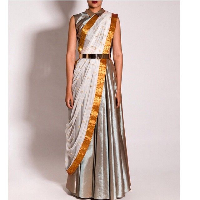 A beautiful @neeta_lulla upada silk skirt set styled using a draped saree with a gold kanjivaram border #neetalulla #czarinaofindianfashion #online