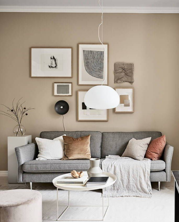 Small Studio With Beige Walls Beige And Grey Living Room Modern Living Room Interior Grey Walls Living Room