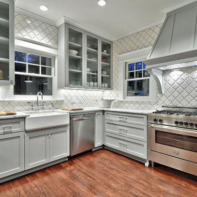 Gray Arabesque Tile Kitchen