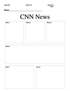 "When my fifth graders have unpacked and begun eating their breakfast in the morning, I typically play a CNN News video for them to watch while they eat. I leave a ""5 W's"" graphic organizer on the front table for them to pick up as well. The students fill this sheet out as they watch and eat."