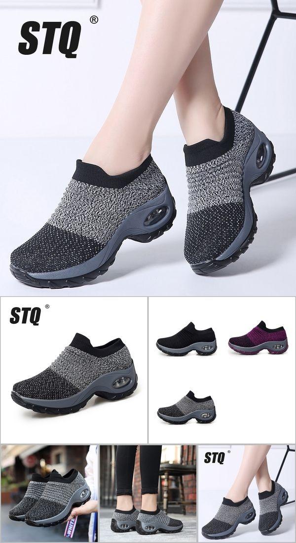 c1b88ce7fb0 STQ 2019 Spring women sneakers shoes flat slip on platform sneakers for women  black breathable mesh
