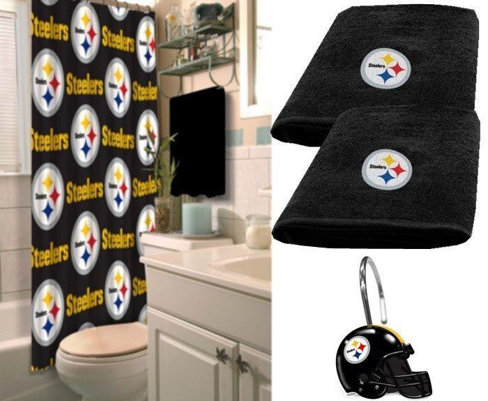 Pittsburgh Steelers Nfl Deluxe Bath Set At Sportsfansplus
