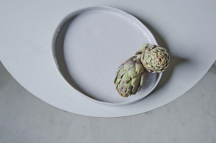 Grey ceramic platter