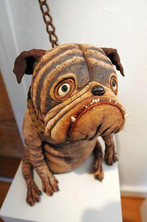 Ole Martin Skaug - ugly dog ceramic sculpture