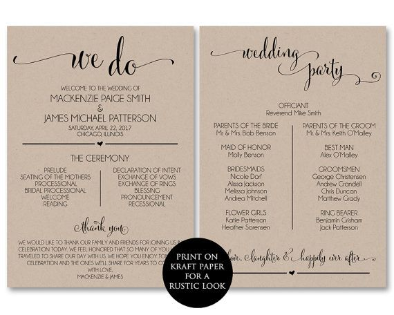 Wedding Program Template, Wedding Program Printable, We Do, Ceremony  Printable Template   PDF