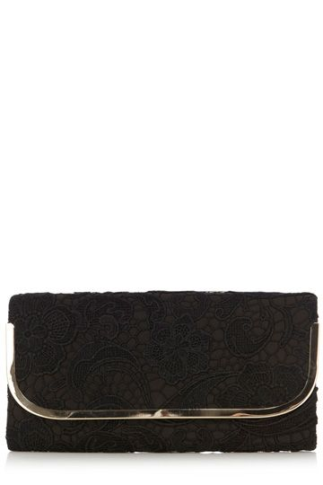 This pretty clutch bag has a lace finish to the body and a metal outer trim.