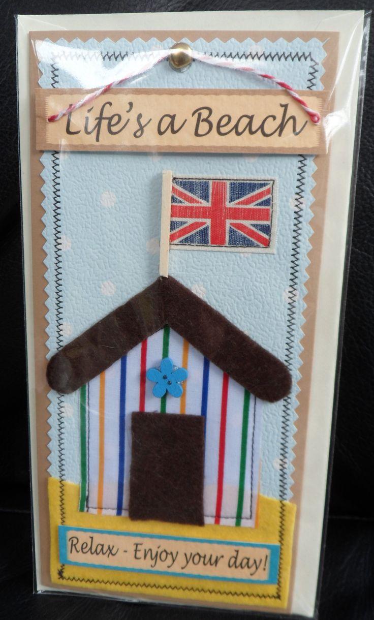 Summer Beach Hut Fabric Card