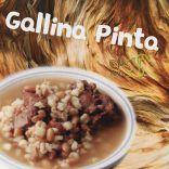 Gallina Pinta con Frijol Bayo  Ingredientes  4 litros de agua  1 cola de res en trozos  1 kilo de pecho de res en trozos  1/2 kilogramo de frijol bayo  1/2 kilogramo de maíz precocido  1 cabeza de ajo  1 mazo de cilantro  1 chile verde sin semillas y sin pezón  Sal al gusto  Indicaciones  1.- Cocinar en olla grande, el agua y la carne, utilizando fuego lento.  2.- Cuando este lista la carne, agregar al agua, el frijol, el maíz, la cebolla, el ajo y el chile verde.  3.- Cocer por…