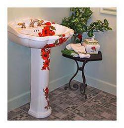 Amazing Oriental Poppies Hand Painted Pedestal Sink In Powder Room
