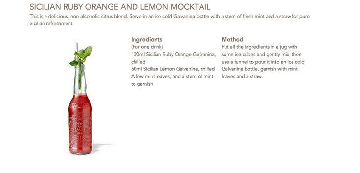 Sicilian Ruby Orange and Lemon Mocktail #Galvanina #drink #recipe