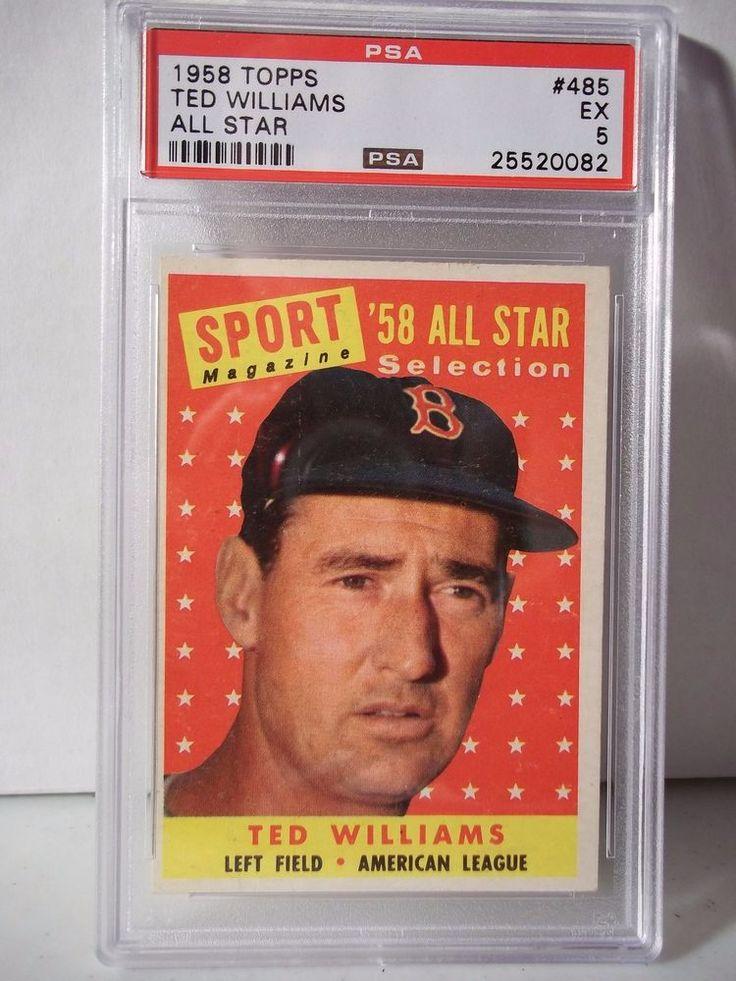 1958 topps ted williams all star psa graded ex 5 baseball