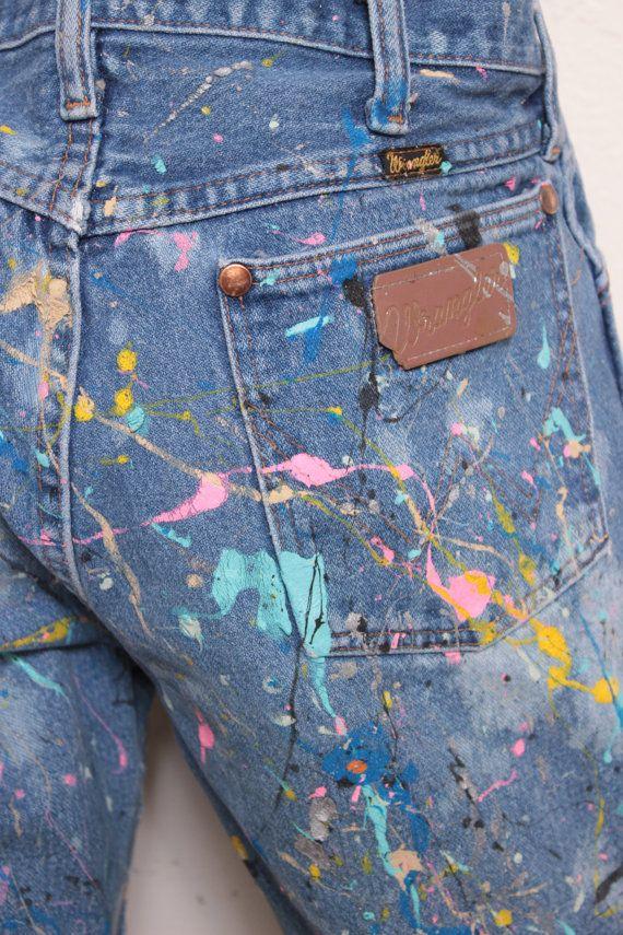 Custom Made Splatterpainted Jackson Pollock Denim Galaxy Jeans or Pants, Custom Paint Job Only