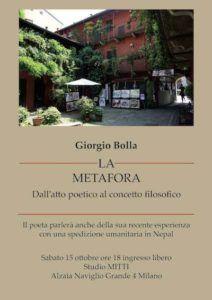 Giorgio Bolla a Milano. Sabato 15 alle 18:30 presenterà La metafora, il suo ultimo libro di poesie, e parlerà della recente esperienza in Nepal con la spedizione Himalayan aid.
