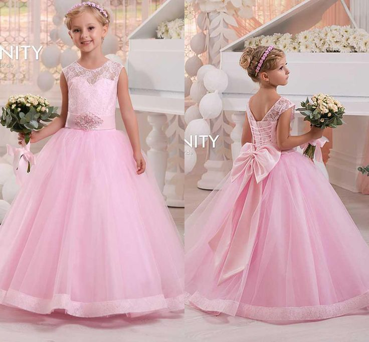 Beautiful Custom Made New Pink Flower Girls Dresses For Wedding Sheer Jewel Neck Back With Bow Waist With Sashes Floor Length Litter Girls Dress