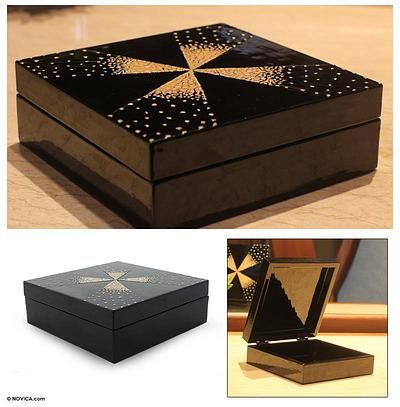 Eggshell mosaic jewelry box - Fireworks | NOVICA
