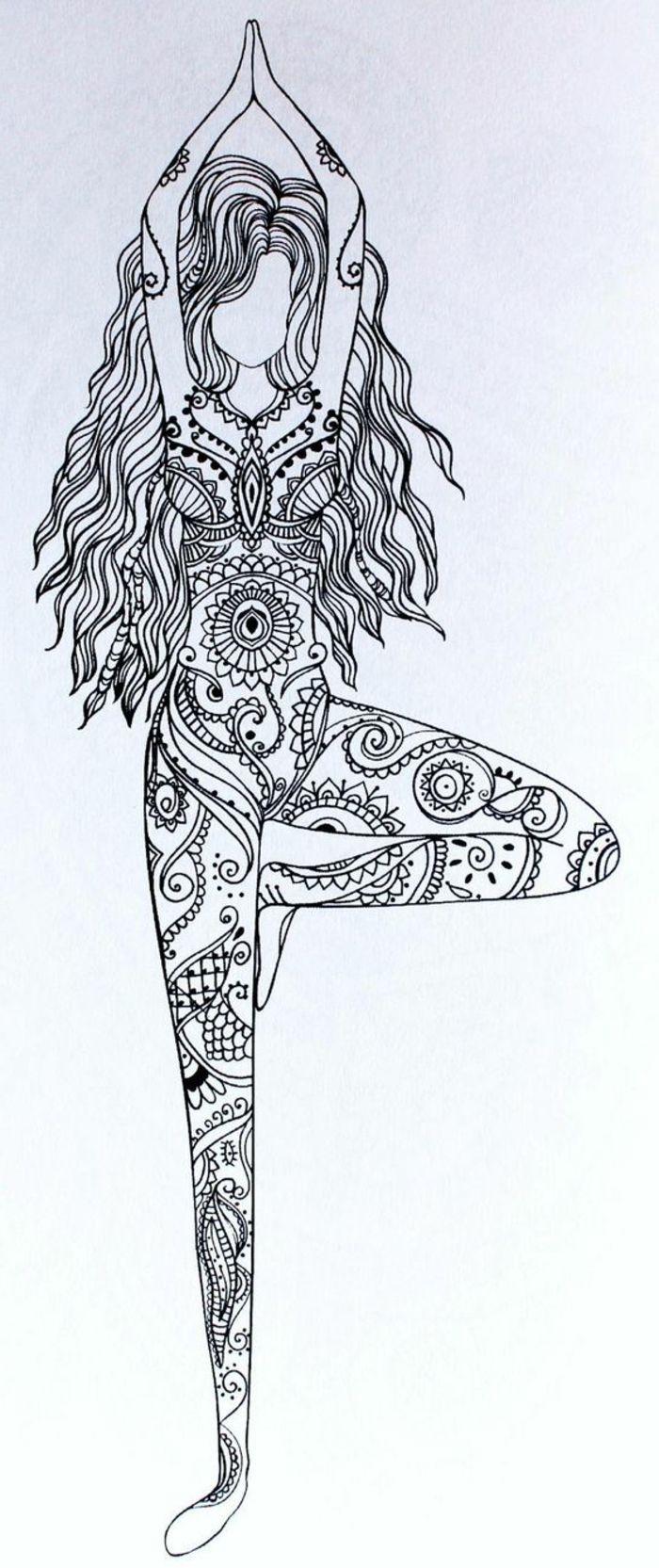 faire un mandala fille danseuse cheveux longs dessin femme tenue mandala