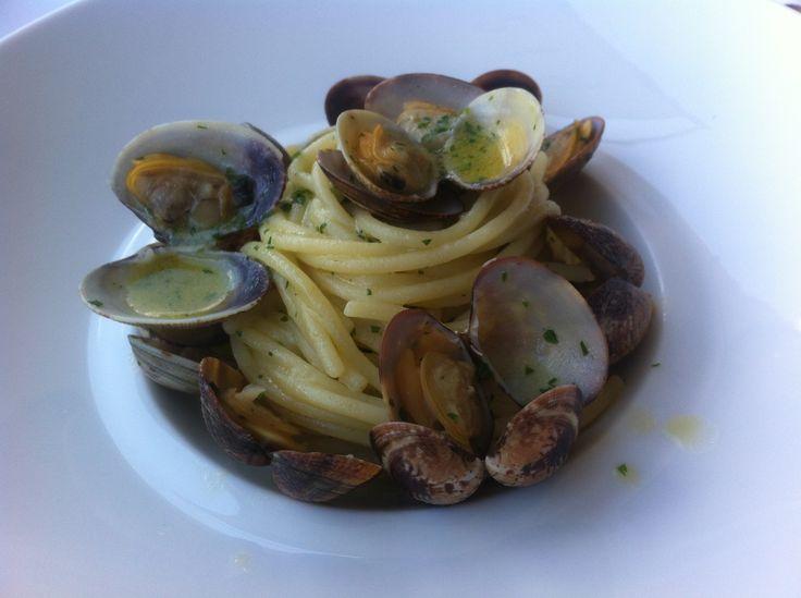 Clams on spaghetti, Florence, Italy.