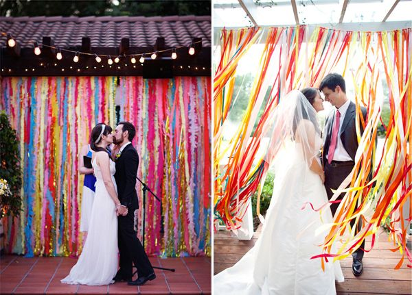 Backdrop wedding ceremony with ribbons