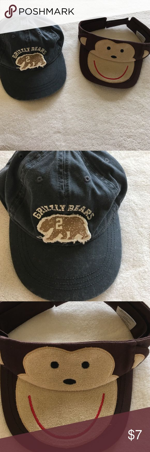 Boys caps NWOT. Grizzly Bears cap is from Children's Place. Size L 2-4 yr. Monkey cap is Infant One Size Fits Most. Accessories Hats