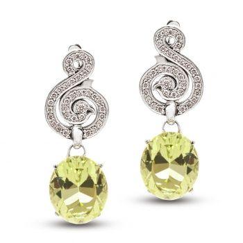 Серьги из белого золота с гелиодором и бриллиантами