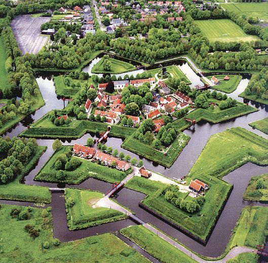 Vesting (Fort) Bourtange, Netherlands (photo: Wortman) Fort Bourtange is a moated, star-shaped fort in the village of Bourtange, Groningen, The Netherlands. Fort Bourtange was built in 1593 in order to control the only road between Germany and the city of Groningen. It is now a historical museum.