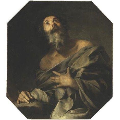 Attributed to Bernardo Cavallino (Italian, 1616–1656), Saint Bartholomew, oil on canvas, 93.4 x 83.4 cm. (36.8 x 32.8 in.)