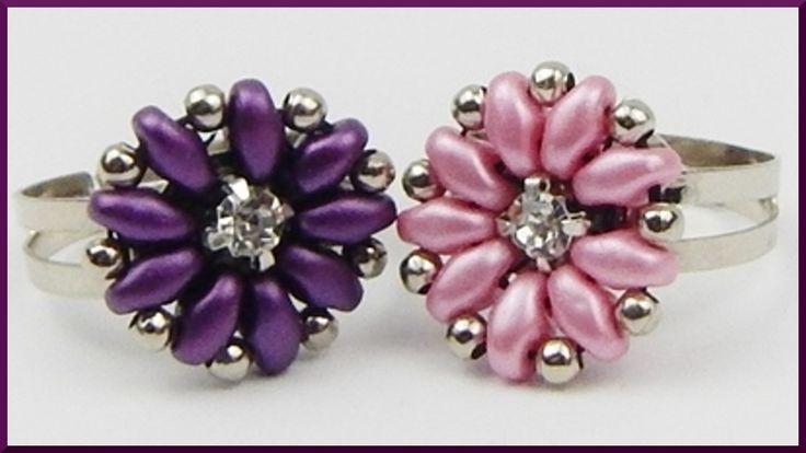 DIY | Ring mit Blume aus Perlen fädeln | Beaded ring | Twin beads flower...